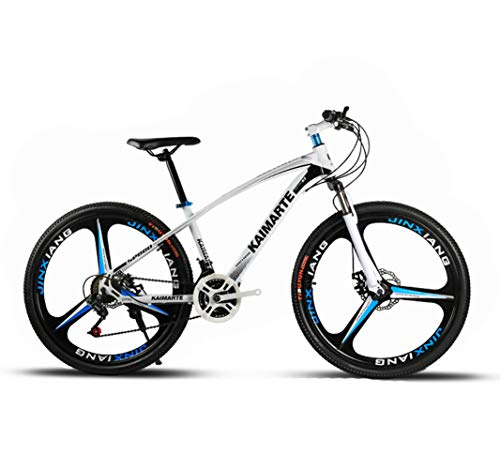 LYzpf Bicicleta de Montaña MTB 26/24 Pulgadas 21/24/27 Velocidades Aleación Marco Más Fuerte Freno Disco para Hombre Adulto Mujer Estudiante,White-1,26inch-21S