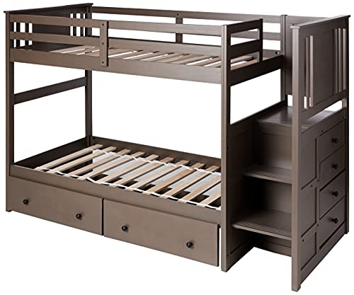 Donco Kids Princeton Stairway Bunk Dual Under Bed Drawers, Twin/Twin Slate Grey