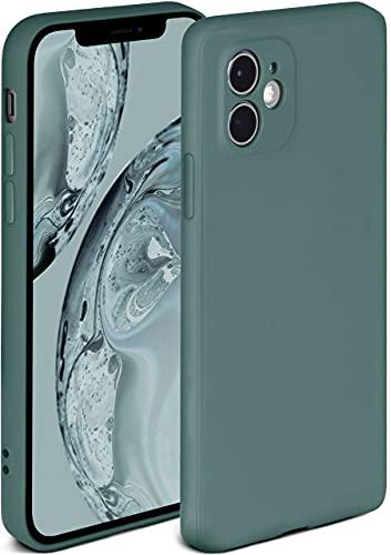 ONEFLOW Soft Hülle kompatibel mit iPhone 12 Hülle aus Silikon, erhöhte Kante für Displayschutz, zweilagig, weiche Handyhülle - matt Petrol