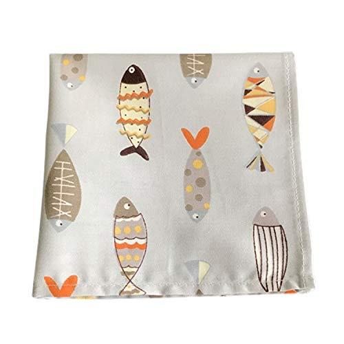 SQINAA Pañuelo Pequeño Bolsillo Cuadrado Pañuelo Impreso Algodón Puro Colorido Impresión Suave Damas Regalo De Moda 29X29cm,Fish