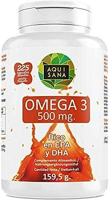 Omega 3 Kapseln | Fischöl Nahrungsergänzungsmittel | Reich an EPA und DHA zur Verbesserung der Körperabsorption 225 Kapseln - Aquisana