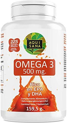 Omega 3 Cápsulas | Complemento alimenticio de Aceite de Pescado | Rico en EPA y DHA Para Mejorar la Absorción del Organismo | 225 Cápsulas - Aquisana