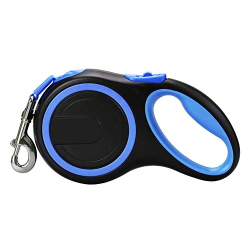 Retractable Dog Leash 16 ft Dog Leash for Small to Large Dogs Up to 110 lbs, Easy Single Lock/Release Button and Ergonomic Handle Heavy Duty Tangle-Free Nylon Ribbon Leash (Large, Blue)