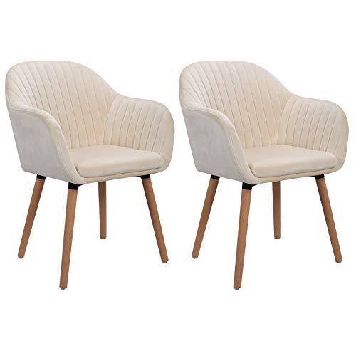 WOLTU Esszimmerstühle BH95cm-2 2er Set Küchenstuhl Wohnzimmerstuhl Polsterstuhl Design Stuhl mit Armlehne, Sitzfläche aus Samt, Gestell aus Massivholz, Cremeweiß