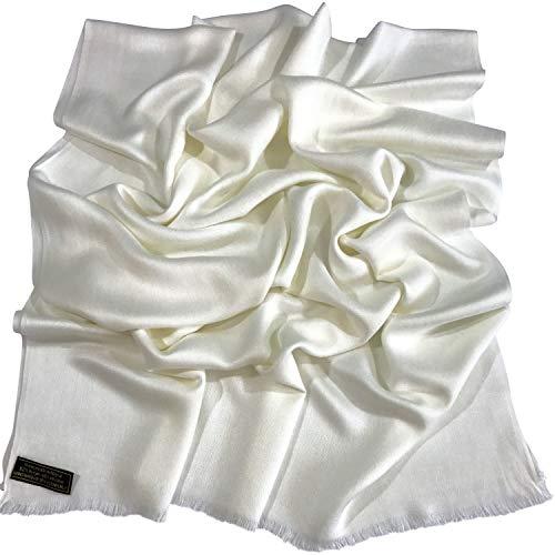 CJ Apparel CJ Apparel Off-White Normallack Design Nepalesischer Fransenschal Pashmina Schal Stola Wurf NEU