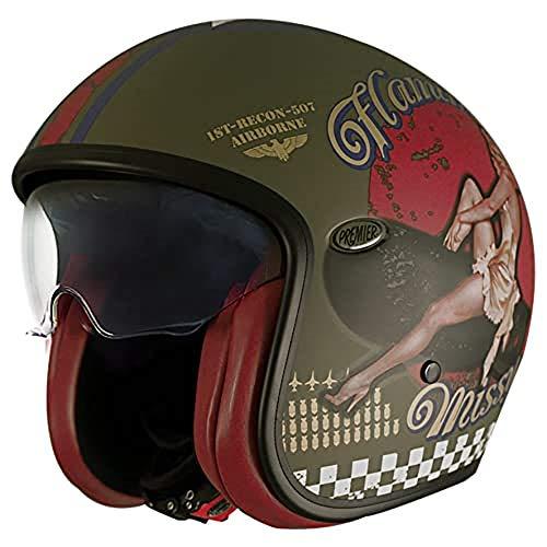 Premier Casco de moto NC VINTAGE EVO PIN UP MILITARY MAT, Kaki, L