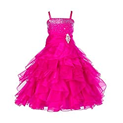 Fuchsia Rhinestone Organza Layer Flower Girl Dresses