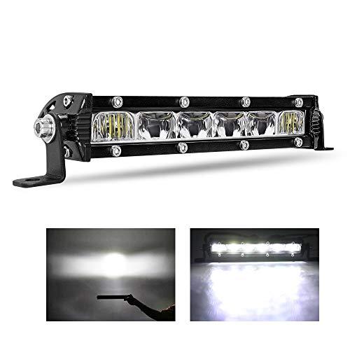 BraveWAY 8 inch Super Slim Single Row LED Light bar 7D Reflector Spot Flood Combo Beam led Driving Lights 12V 24V Off Road Light Bar LED Work Light for Truck ATV, UTV, SUV, Cars (9610L-8inch)