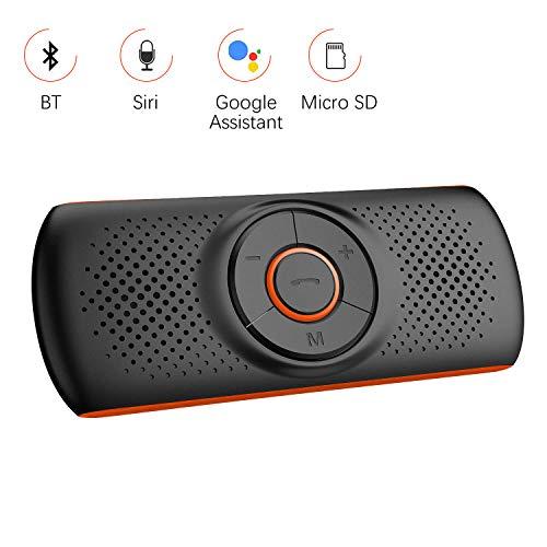 Aigoss Kfz Bluetooth Freisprecheinrichtung mit Siri und Google Assistant, Kabelloser Lautsprecher für Visier, 2 Telefone Gleichzeitig