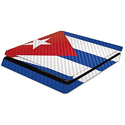 MightySkins Carbon Fiber Skin for Sony PS4 Slim Console - Cuban Flag | Protective, Durable Textured Carbon Fiber Finish | Easy to Apply, Remove, and Change Styles | Made in The USA