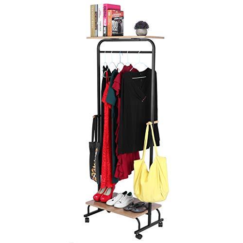 Dioche Perchero de entrada, con estantes y zapatero con ruedas, para salón, dormitorio, pasillo, acero + MDF, 60 x 40 x 164 cm