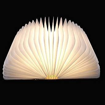 LED Plegable Lámpara del Libro, Ambiental Lámpara LED Recargable de 2000mAh, Lámpara LED con 5 Colores, para Luz de Lectura, Lámpara de Pared Lámpara de Mesa, Iluminación Interior-Con Interfaz USB