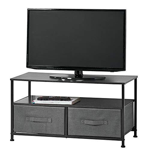 mDesign Mueble de TV con cajas organizadoras – Mesa para televisión estrecha con balda y 2 cestas de tela – Moderno mueble de salón para tele, reproductor de DVD y videoconsola – gris y negro