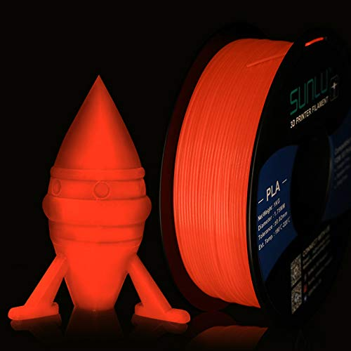 SUNLU Glow in The Dark PLA Filament 1.75 mm 3D Printer Filament, 1kg Spool 3D Printing Filament, Dimensional Accuracy +/- 0.02 mm for 3D Printer and 3D Pen, Luminous Red