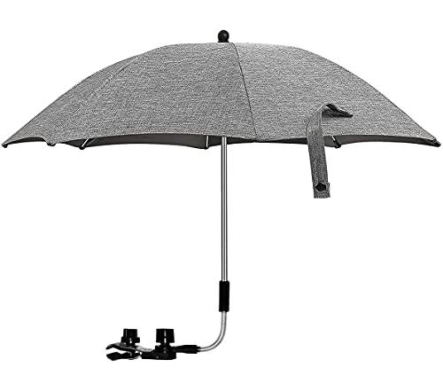 Pram Parasol,Baby Pram Umbrella 75cm Diameter Parasol Umbrella for Pram,50+ UV Baby and Infant Sun Protection Umbrella with Umbrella Handle for Pram, Stroller, Pushchair and Buggy-Grey