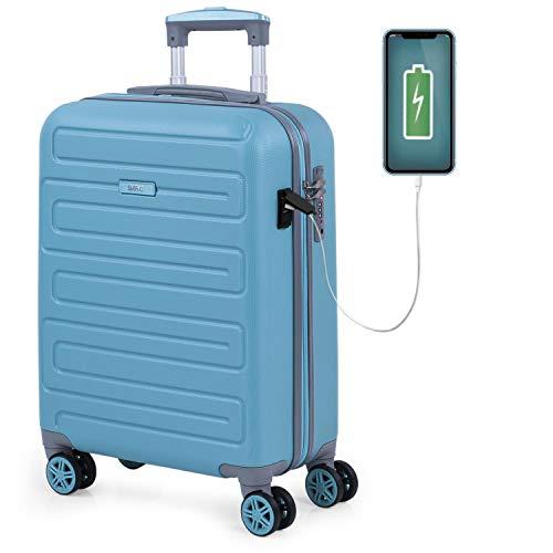 SKPAT - Maleta de Cabina para Viaje. Puerto para Cargador USB. 4 Ruedas Trolley 55 cm. ABS. Equipaje de Mano. Pequeña Rígida Cómoda y Ligera. Candado TSA. Calidad. 175050, Color Turquesa