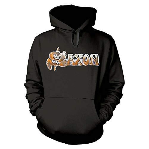 Saxon Capucha Crusader Band Logo British Metal Nuevo Oficial De Los Hombres