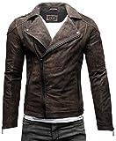 Crone Theo Herren Lederjacke Basic Biker Jacke aus weichem Rindsleder (XL, Elephant (Nubukleder))