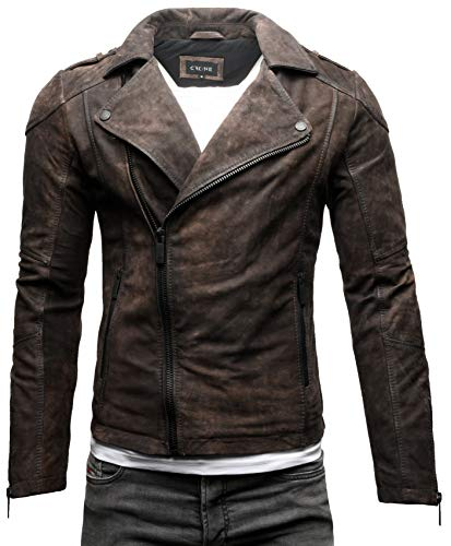Crone Theo Herren Lederjacke Basic Biker Jacke aus weichem Rindsleder (L, Elephant (Nubukleder))