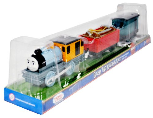 Thomas and Friends As Seen On 'Misty Island Rescue' Trackmaster Motorized Railway Battery Powered Tank Engine 3 Pack Train Set - BASH THE LOGGING LOCO with Lumber Wagon and Caboose