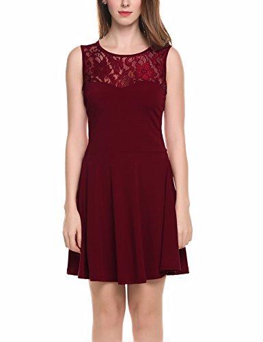 Zeagoo Damen Ärmellos Spitzenkleid Ballkleid Festliches Kleid A-Linie Kleider Knielang (EU 38(Herstellergröße:M), Weinrot-Kurzarm)
