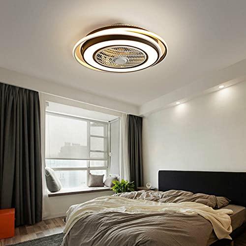 Ventilador de techo LED moderno Nordic con mando a distancia de 60 W, lámpara de techo moderna LED con iluminación ultra silenciosa, para dormitorio o salón (58 cm de diámetro)