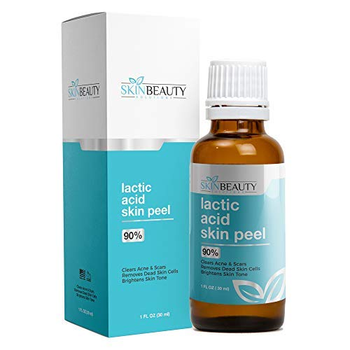 LACTIC Acid Peel 90% Skin Chemical Peel- At Home Peel-Alpha Hydroxy (AHA) For Acne Scars, Skin Brightening, Wrinkles, Dry Skin, Age Spots, Uneven Skin Tone, Melasma, Clogged Pores, Blackheads (1oz)