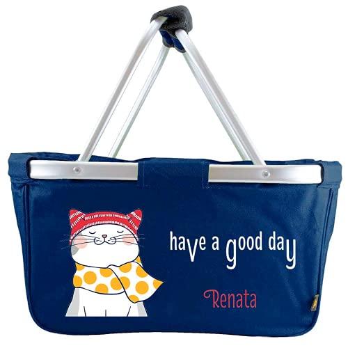 Mein Zwergenland Faltbarer Einkaufskorb Have a Good Day mit Name, Korb klappbar 28 L, Faltkorb personalisierbar Navy mit Katze
