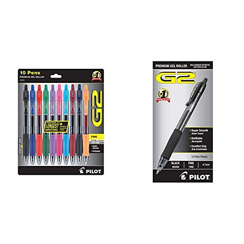 PILOT G2 Premium Rolling Ball Gel Pens, Fine Point, Assorted Color Inks, 10-Pack (31236) & G2 Premium Refillable & Retractable Rolling Ball Gel Pens, Fine Point, Black Ink, 12-Pack (31020)