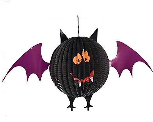 Farol de papel de Halloween, 3D plegable panal de papel linterna araña fantasma murciélago calabaza linterna de papel decoración colgante de Halloween para decoración de fiesta de Halloween