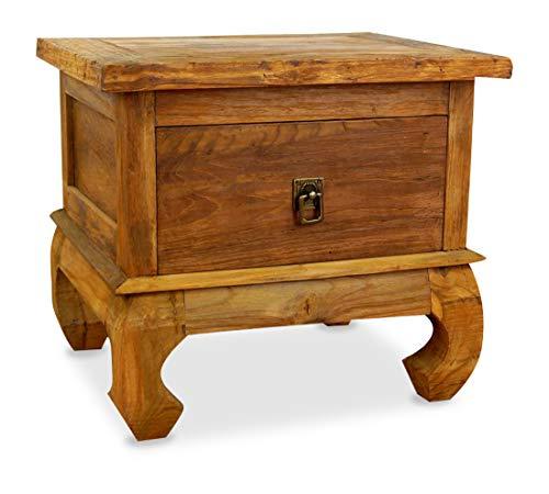 livasia Java Opiumtisch aus Teakholz   Beistelltisch aus Massivholz   Nachttisch der Marke Asia Wohnstudio   Nachtschrank   Kommode