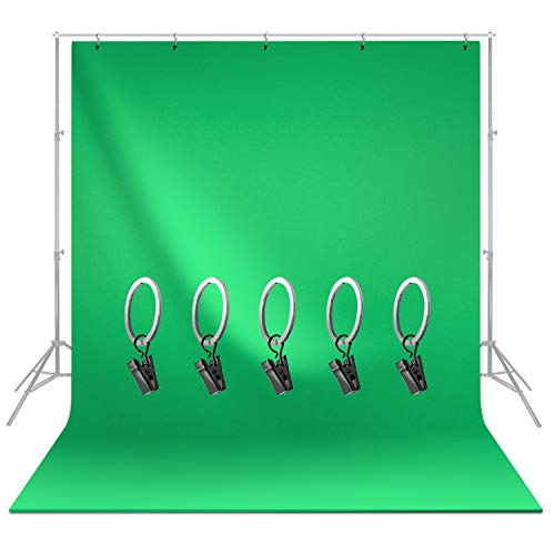 LimoStudio 6 x 9 ft. Green Chromakey Screen Backdrop Muslin, Extra Soft Silk Non-Glossy Texture with 5 Ring Clip Backdrop Holder for Photo Video Studio, AGG1338