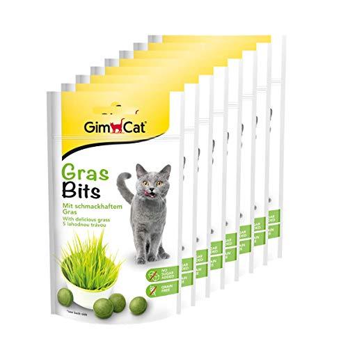 GimCat Gras Bits - Getreidefreier und vitaminreicher Katzensnack mit echtem Gras - 8er Pack (8 x 40 g)