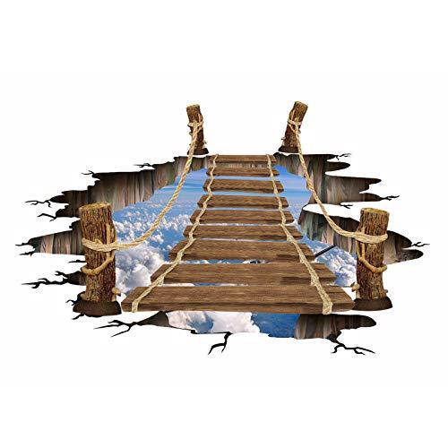 Ammily Adhesivo decorativo para pared con puente de madera 3D, impermeable, antideslizante, para sala de estar y dormitorio