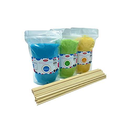 Eventset XL 3 Kg Zuckerwattezucker inklusive 200 Zuckerwattestäbe 40 cm Aromazucker Farbzucker Zucker für Zuckerwatte Zuckerwattemaschine (Set 1 Kaugummi, Vanille, Apfel + 200 Stäbe)