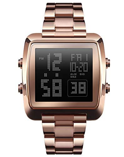 MLHXHX Mira a Las señoras Reloj de Temperamento Simple de la Moda de la Moda del Reloj del Reloj de los Hombres Rose Gold