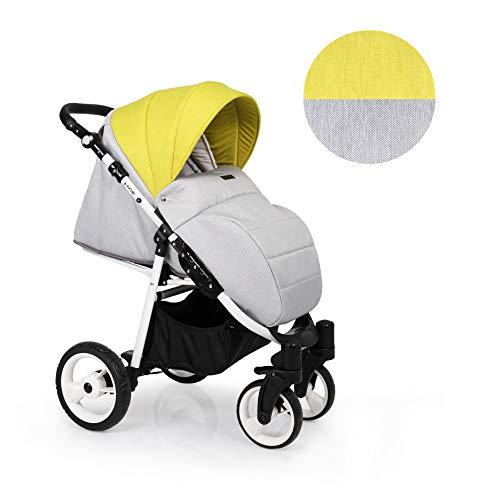 Clamaro 'Foxter' Kinderwagen Sportwagen Buggy mit Liegefunktion, Aluminium Rahmen zusammenklappbar, 360° Schwenkräder, verstellbare Griffhöhe, Rückenlehne und Fußablage - Rahmen: Weiß, Design: 2