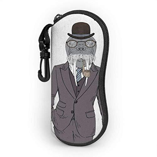 Sonnenbrille Brillenetui Smoking Tasche Kratzfest staubsichere Brillenbox mit Gürtelclip für Schlüssel, Bleistifte, Karten