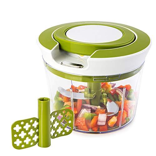 Handhacker - Ziehen Sie an der Schnur, um Gemüse, Zwiebeln, Knoblauch, Fleisch und Nüsse in Sekunden zu schneiden,Weiß