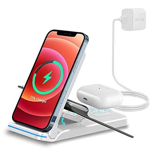 Chargeur à Induction, 3 en 1 Chargeur sans Fil 15W Universel Qi Portable Pliable Rapide Charger pour iPhone13/12/11/X/8Plus/Samsung Galaxy/Huawei Téléphones etc, iWatch Séries et Air pods Pro/2 Blanc