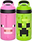 Zak Designs Minecraft Kids Water Bottle with Straw and Built in Carrying Loop Set, Made of Plastic, Leak-Proof Water Bottle Designs (Creeper/Pig, 16 oz, BPA-Free, 2pc Set)