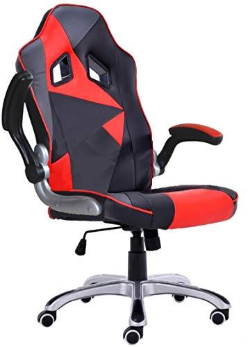 Polironeshop Stuhl Montecarlo für Gaming im Racing-Stil, Bürostuhl für den Arbeitsplatz und Zuhause, Computermöbel Nero - Grigio - Rosso