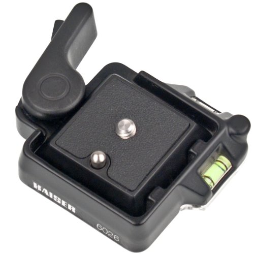 Kaiser Fototechnik 6026 Schnellkupplung für Stativ mit DREI integrierte Wasserwaagen inkl. Schnellwechselplatte