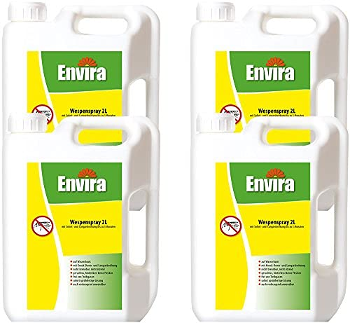 Envira Wespen-Spray - Anti-Wespen-Mittel Mit Langzeitwirkung - Geruchlos & Auf Wasserbasis - 4X 2 Liter