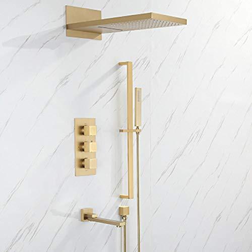 Juego de grifos termostáticos de baño para bañera juego de grifos de ducha de baño cepillo dorado/latón dorado estilo cuadrado rain-brush_ 金,5JR4D1LCTIZQ4