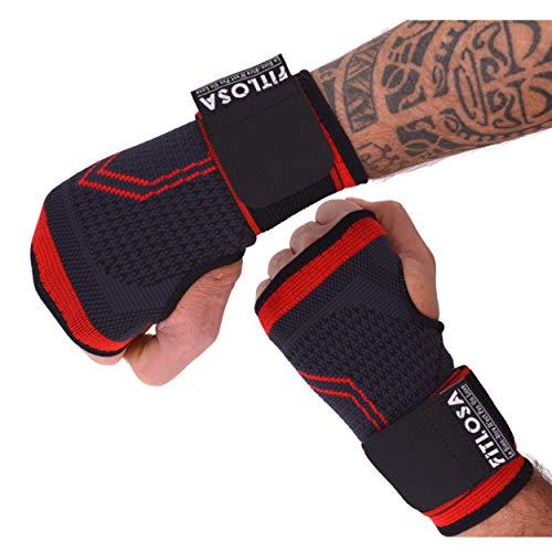 FITLOSA - 2 Set Handgelenk Bandagen Fitness - handbandage Sport - Schutzschiene - Verstellbar mit Band - Männer Frauen - Rechts Linke - Hand Bandage - Krafttraining - Wrist Wrap Support - Rot M