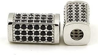 Calvas Rectangular Square Unisex Men Spacer Beads Charms Black Micro Pave Bead Cubic Zircon CZ Space Beads Bracelet Chain - (Color: Silver)