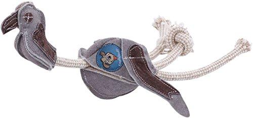 Knuffelwuff 13898-001 Robustes Hundespielzeug Wildleder Geier mit Seil klein, 40 cm