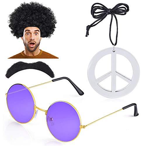 Haichen Hippie Costume Men 1970s 60s Afro Wig Hippy Sunglasses Moustache Peace Sign Necklace Fancy Dress Accessory (D)