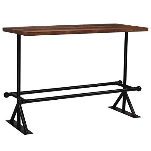 vidaXL Table de Bar Bois Massif de Récupération Marron 150x70x107 cm Maison
